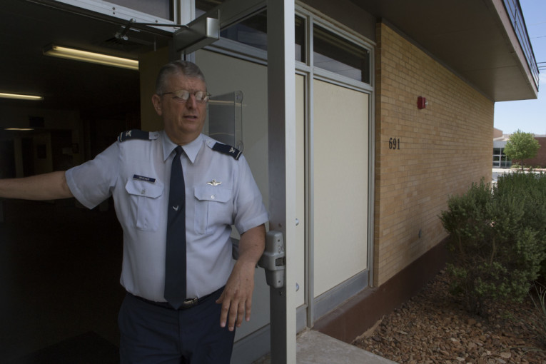 Col. Whicker stands at the door of the JROTC building. He said the St George program is nationally recognized as one of the most well attended.